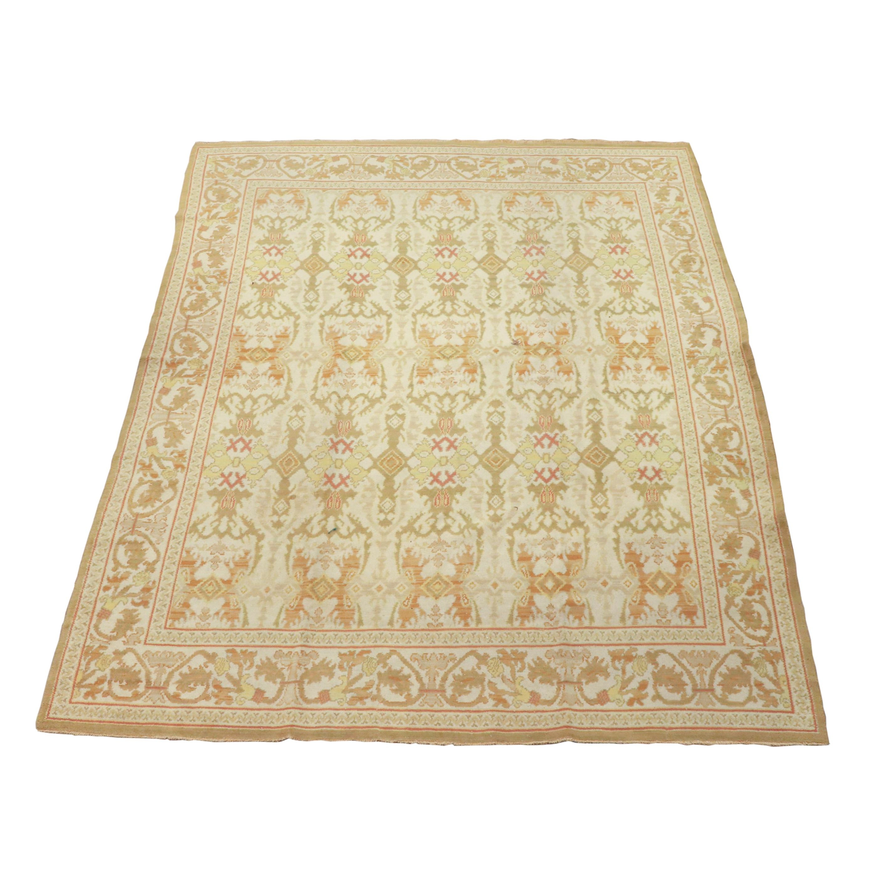 Hand-Knotted Spanish Cuenca Wool Rug