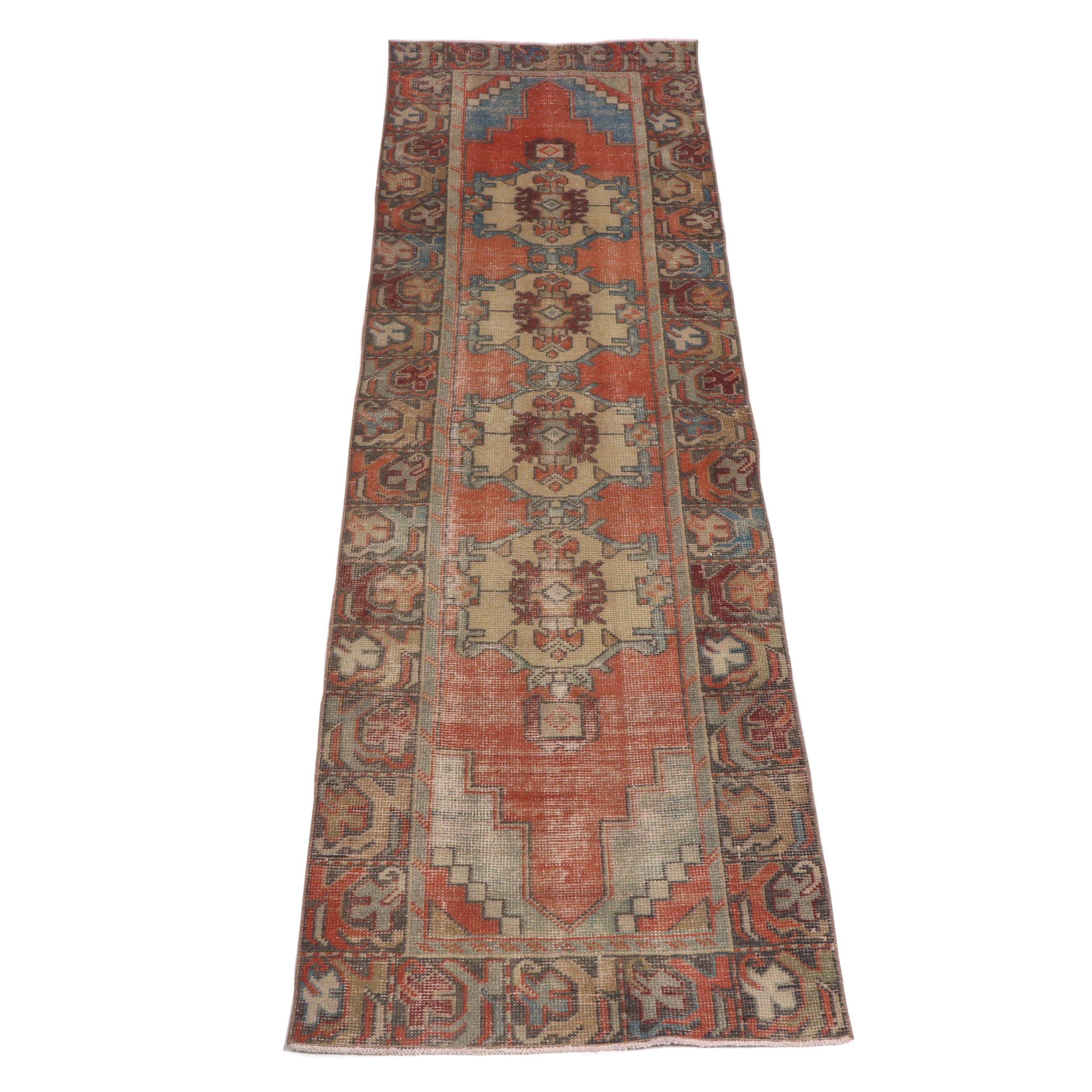 Hand-Knotted Turkish Oushak Wool Runner