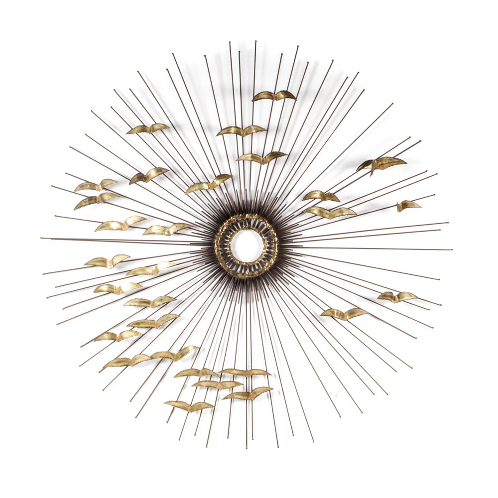 Brass Wall Sculpture of Sunburst with Birds