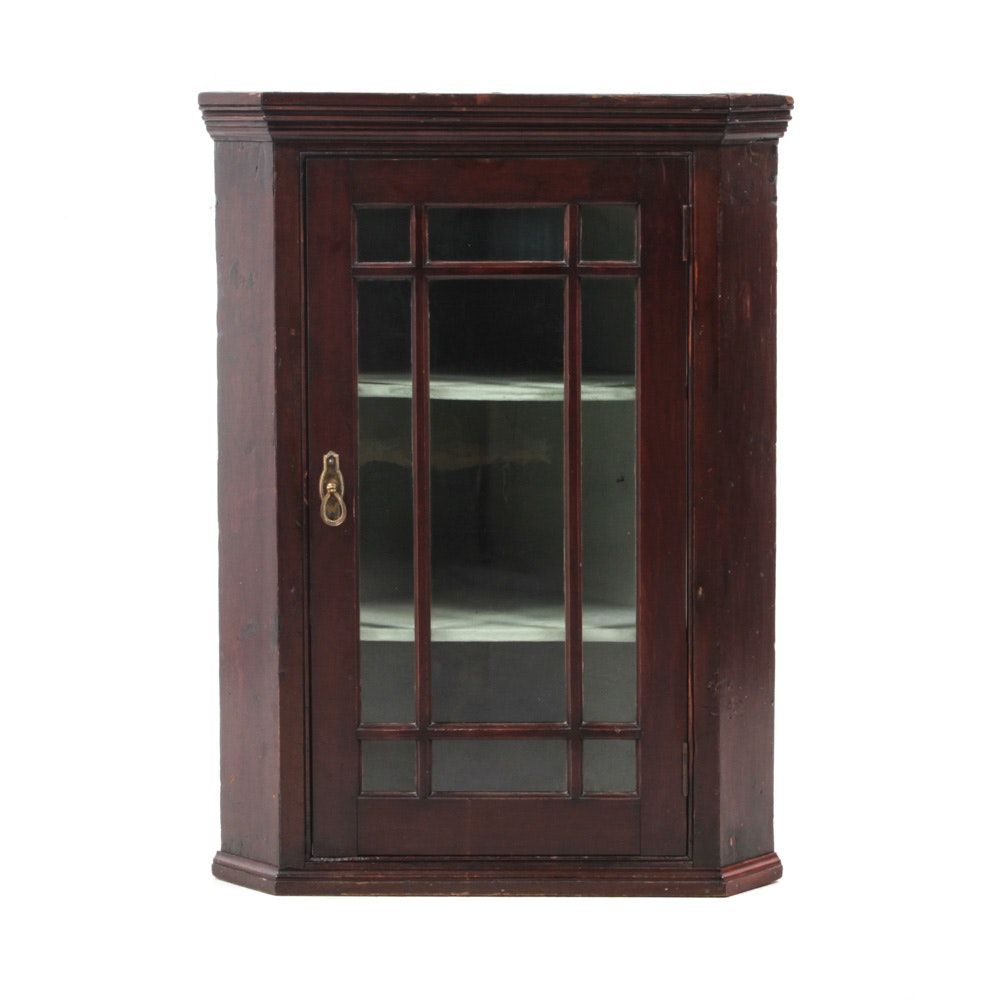 Federal Mahogany Glass Front Hanging Corner Cabinet, Mid-19th Century