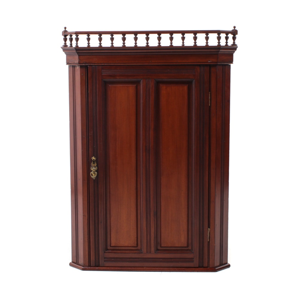 Federal Style Mahogany Wall Mount Corner Cabinet, Early/Mid-20th Century