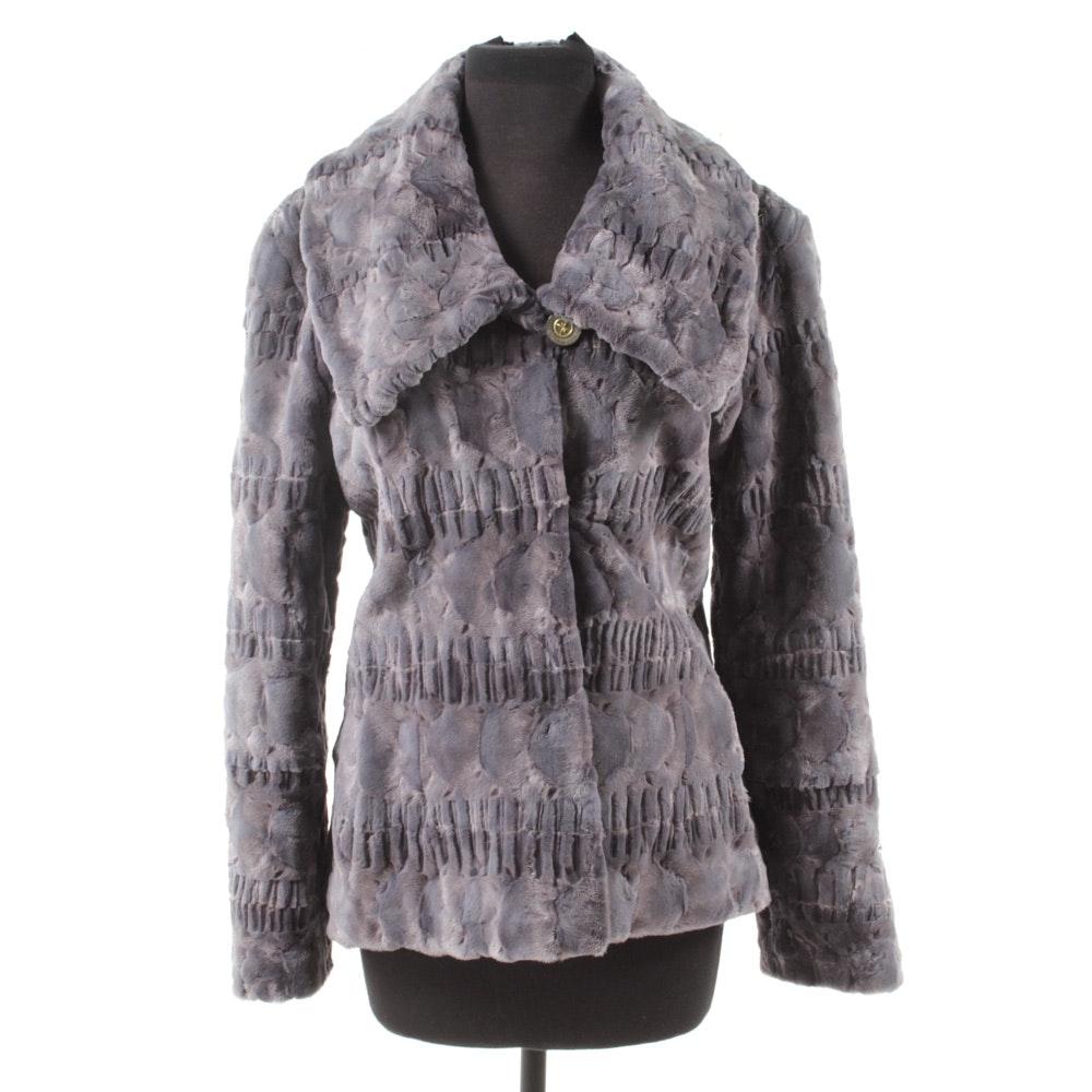 Lavender Dyed Textured Chinchilla Fur Jacket