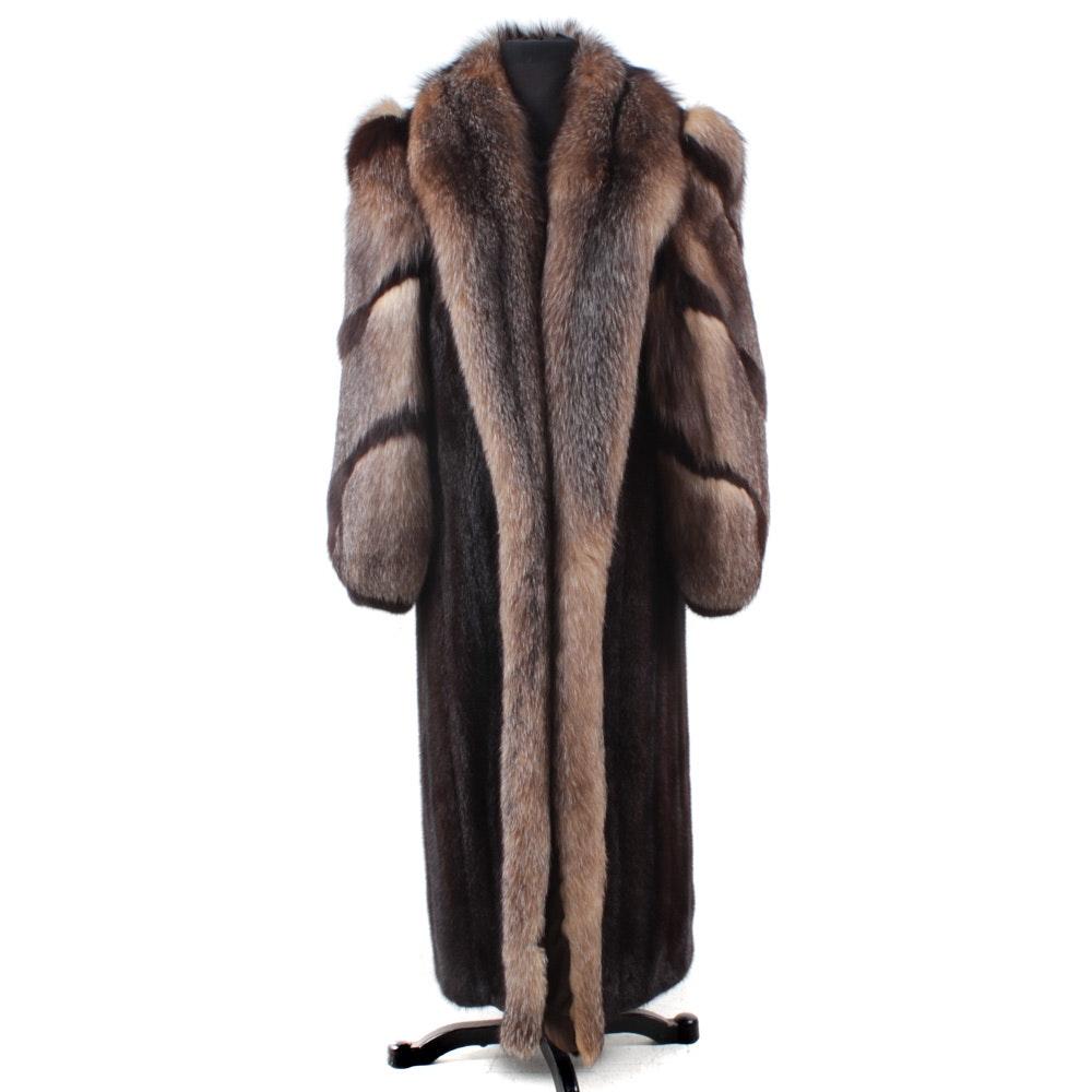 Mink and Crystal Fox Fur Full-Length Coat