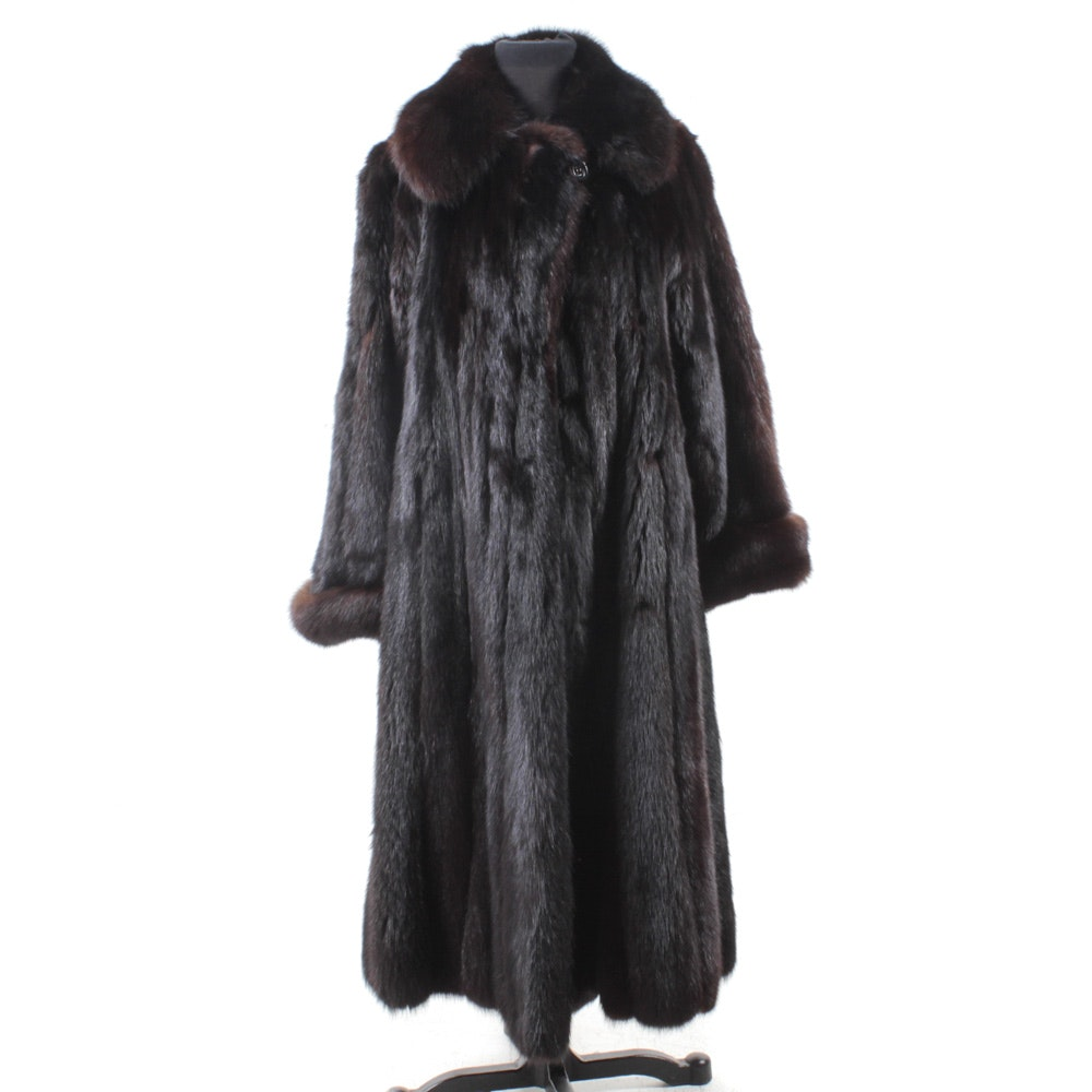 Full Skin Dyed Black Sable Fur Coat