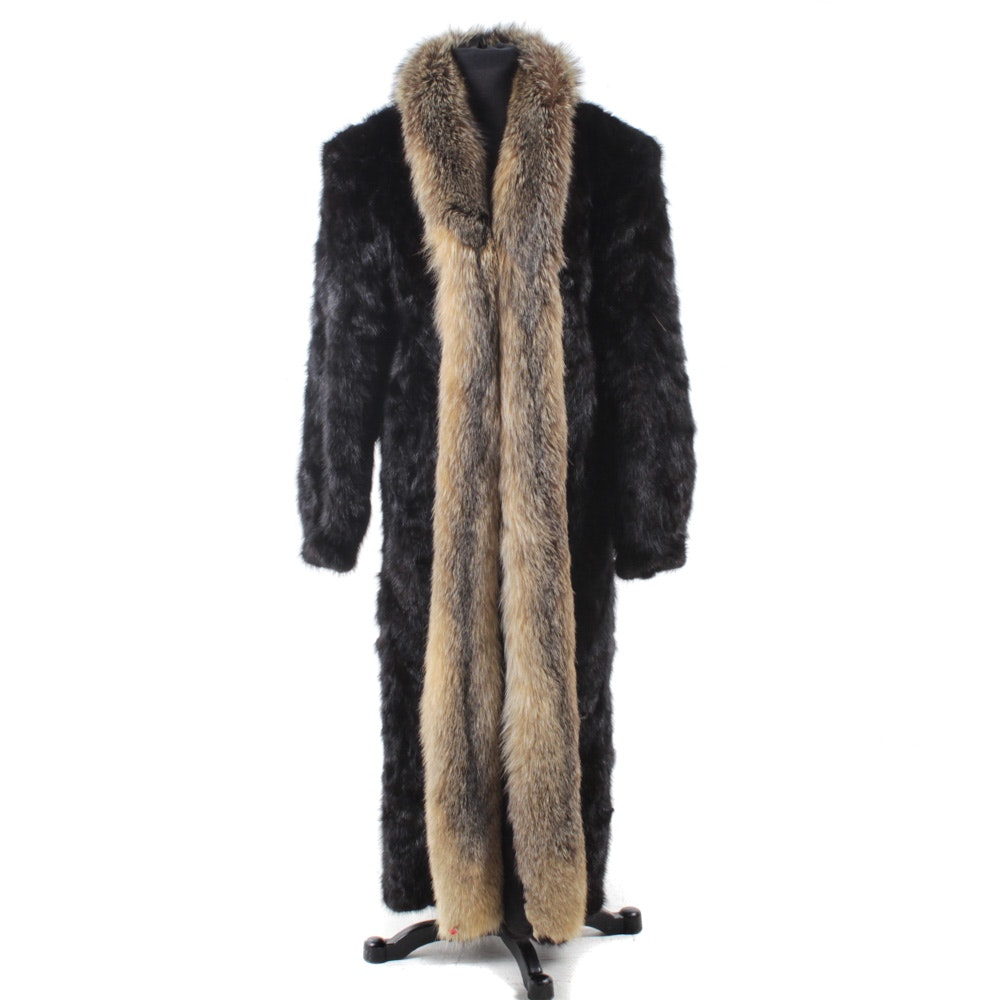 Mink Paw Fur Full-Length Coat with Fox Fur Tuxedo Collar