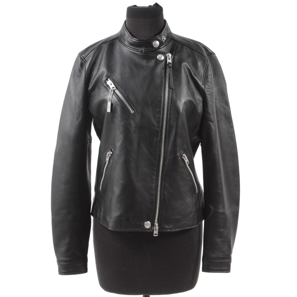 Coach New York Uptown Rider Black Leather Moto Jacket