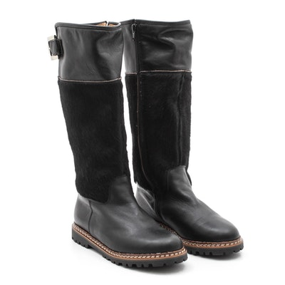 e453fdd8a4d Korks Black Pebbled Leather Knee-High Boots   EBTH