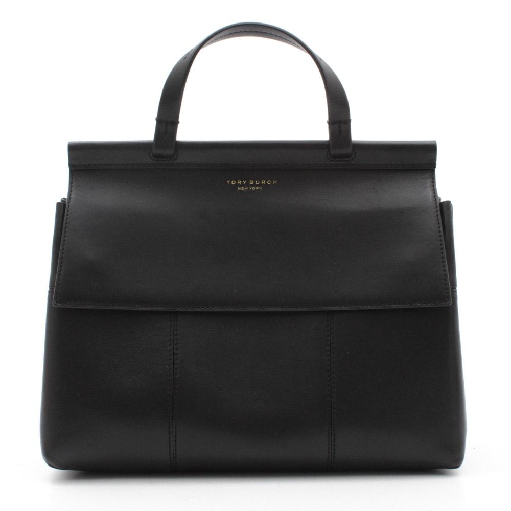 Tory Burch New York Black Leather Block-T Satchel Handbag