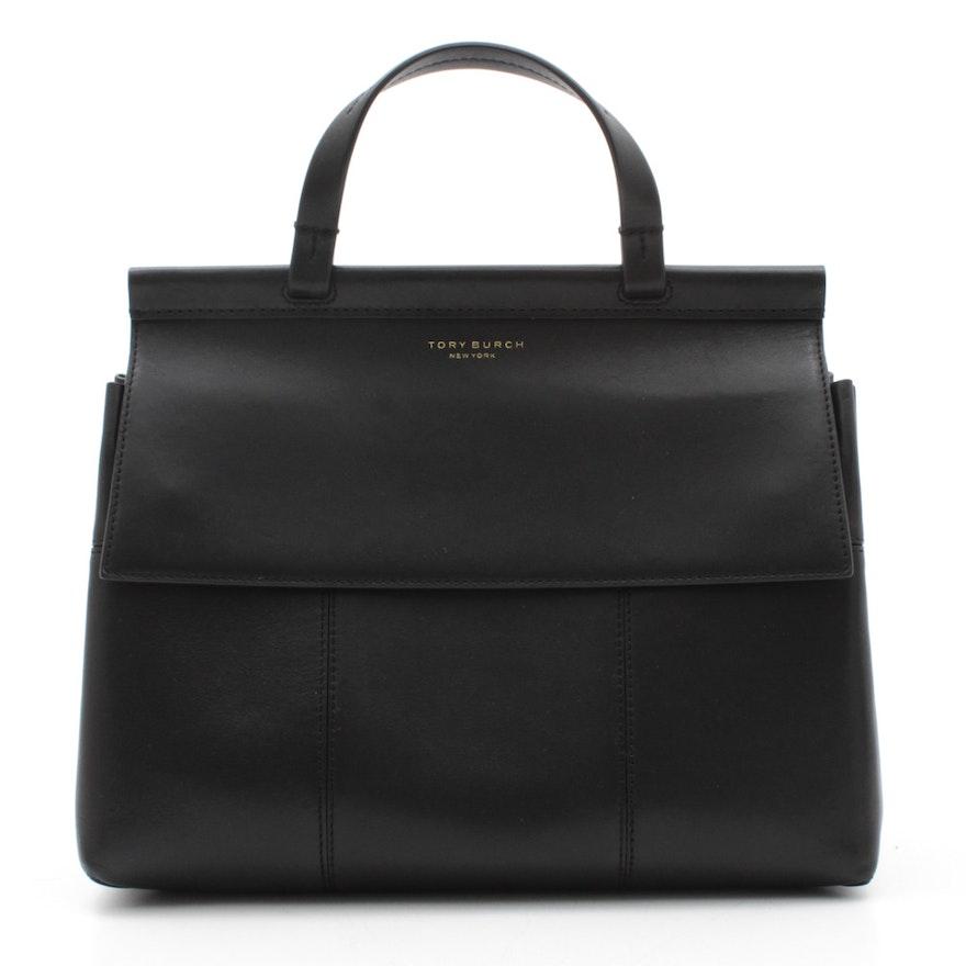 4794d03fc100 Tory Burch New York Black Leather Block-T Satchel Handbag   EBTH