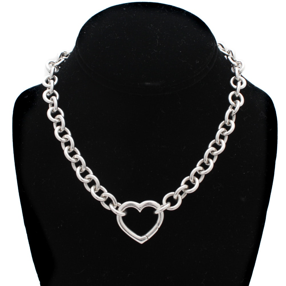 Tiffany & Co. Sterling Heart Clasp Necklace