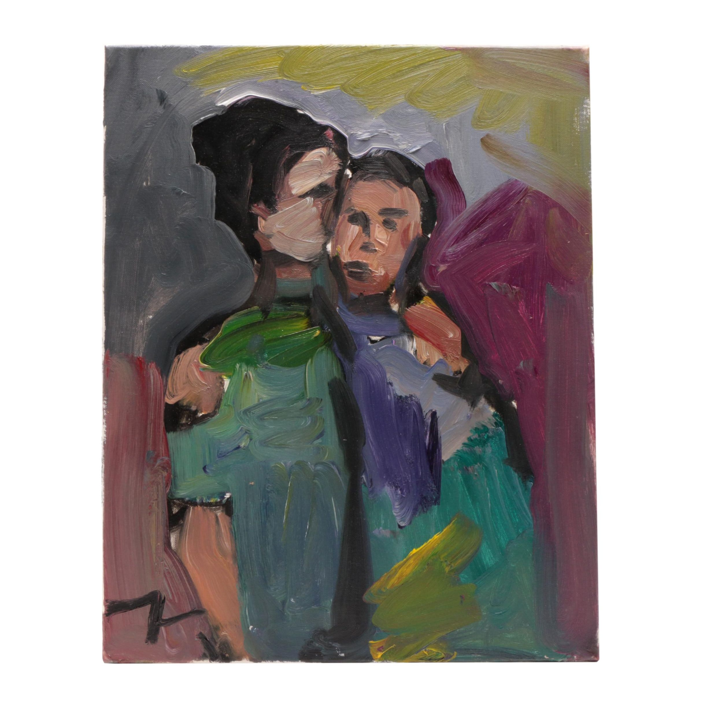 """Jose Trujillo Contemporary Impressionistic Oil Painting """"The Embrace"""""""
