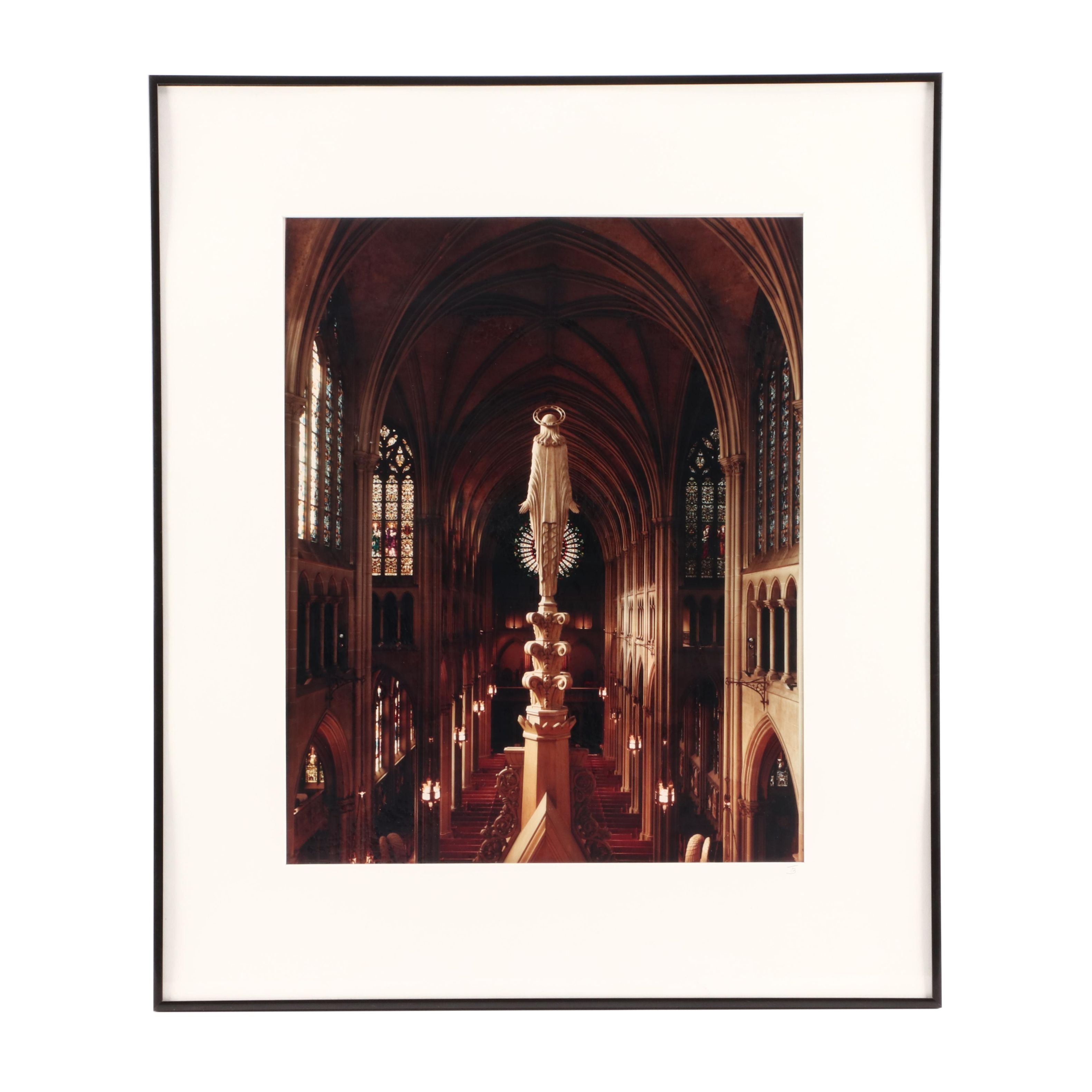 """Terry L. Bond, Jr. 1990 Black-and-White Photograph """"Cathedral Interior"""""""