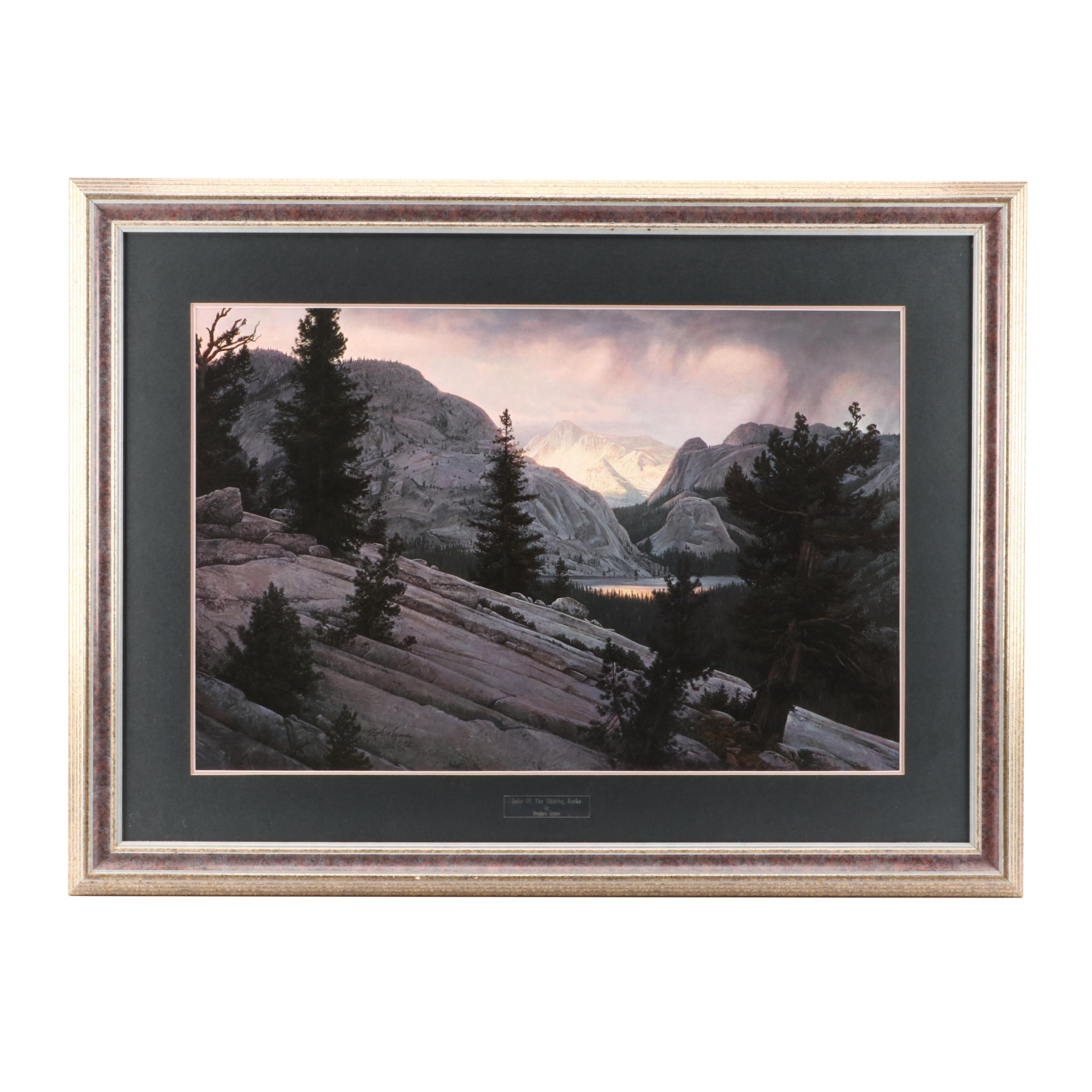 """Stephen Lyman 1992 Limited Edition Offset Lithograph """"Lake of the Shining Rocks"""""""