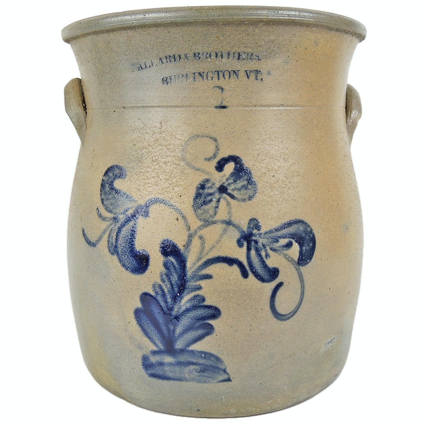 Ballard & Brothers 1870s Cobalt Decorated Stoneware Crock