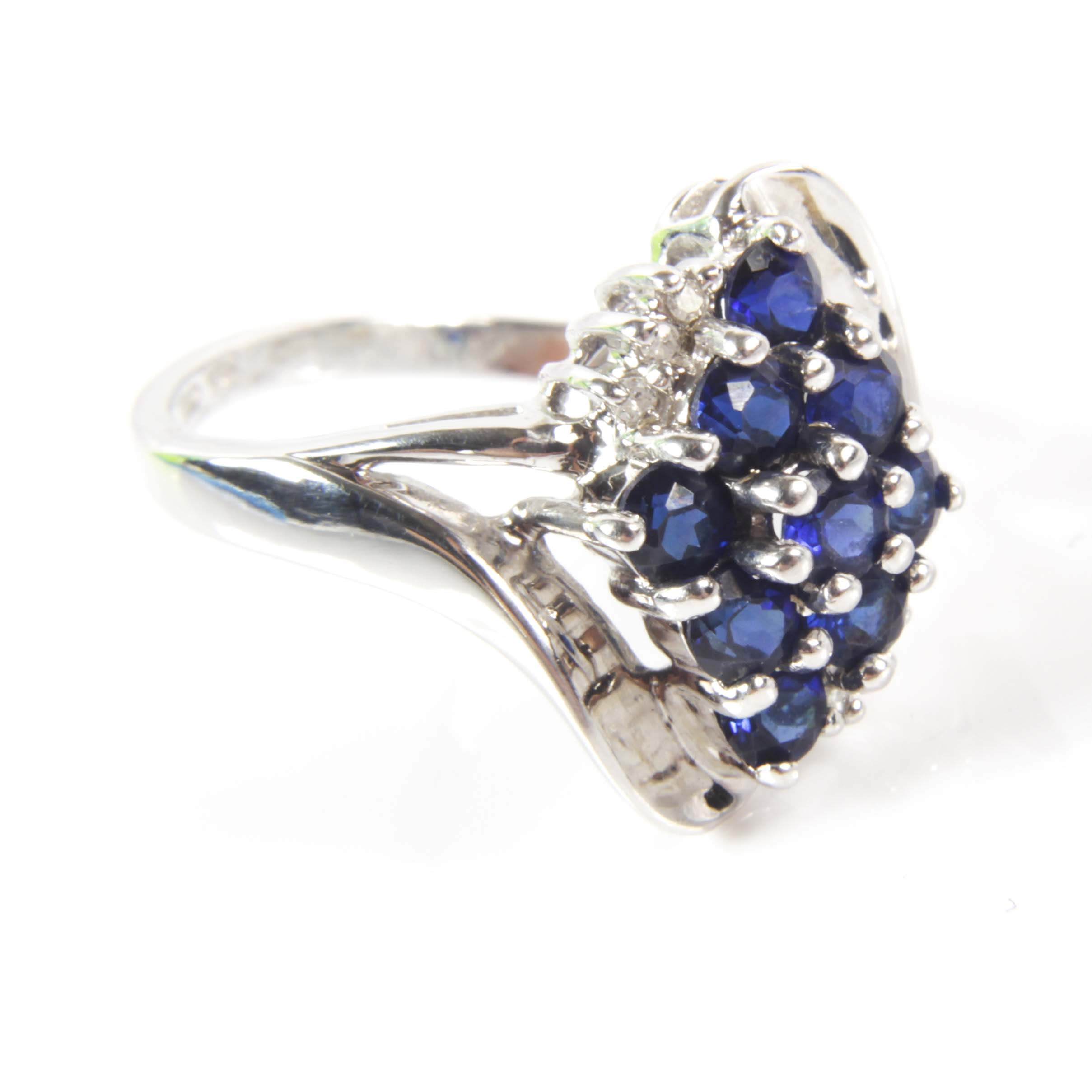 10K White Gold 1.35 CTW Synthetic Sapphire and Diamond Ring