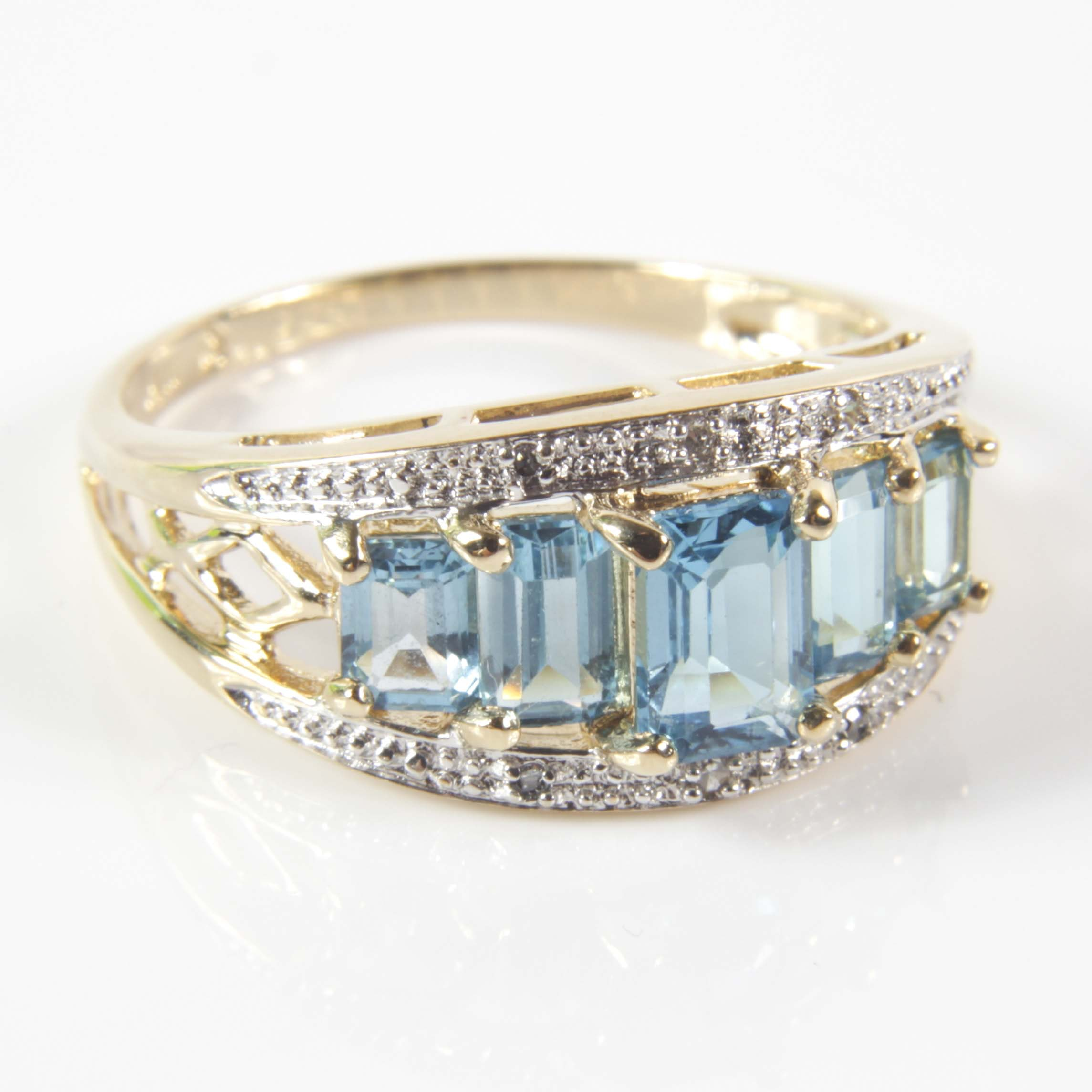 14K Yellow Gold 2.15 CTW Swiss Blue Topaz and Diamond Ring