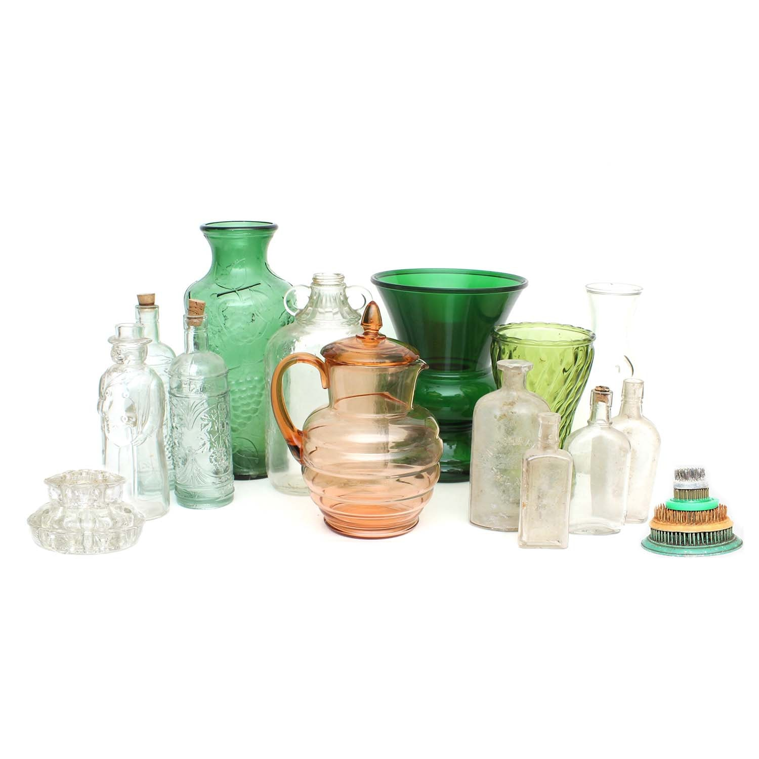 Vintage and Antique Apothecary Bottles, Colored Glass Vases, and Flower Frogs