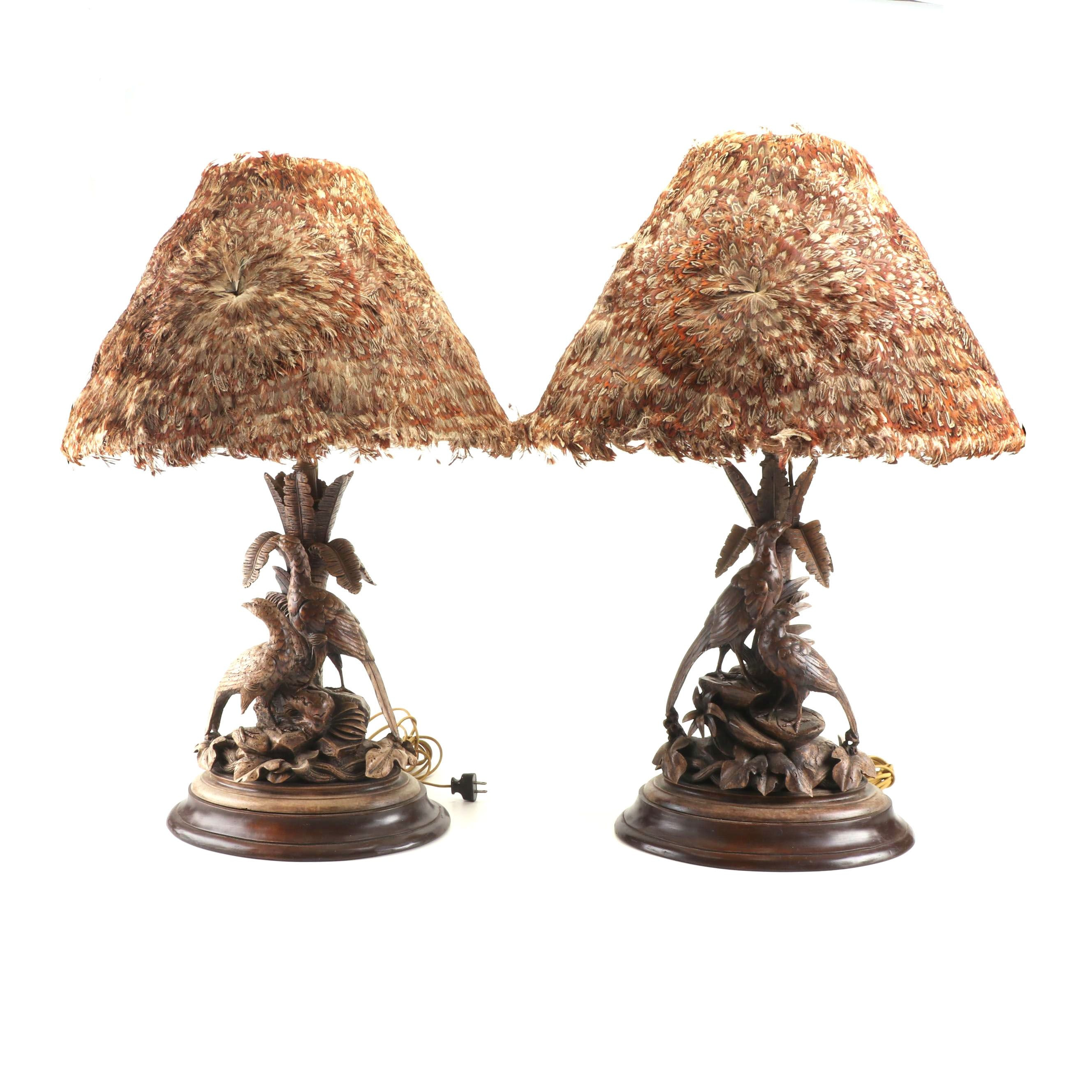 Carved Wood Table Lamps with Pheasant Feather Shades