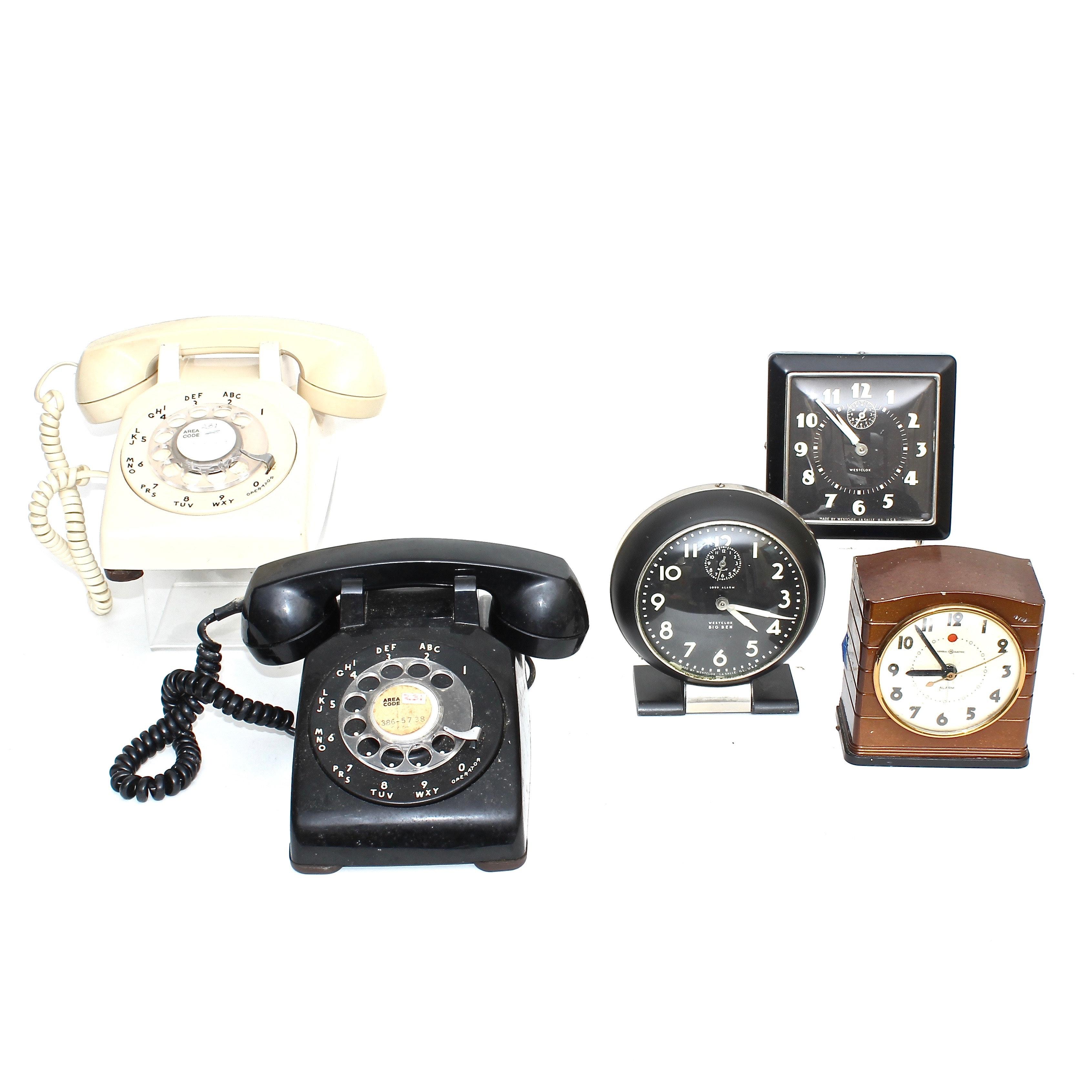 Vintage Rotary Phones and Alarm Clocks Including Westclox Big Ben
