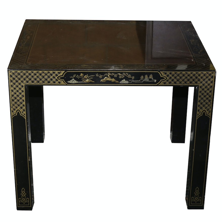Chinoiserie Ebonized And Burled Wood Side Table By Drexel Heritage Et Cetera