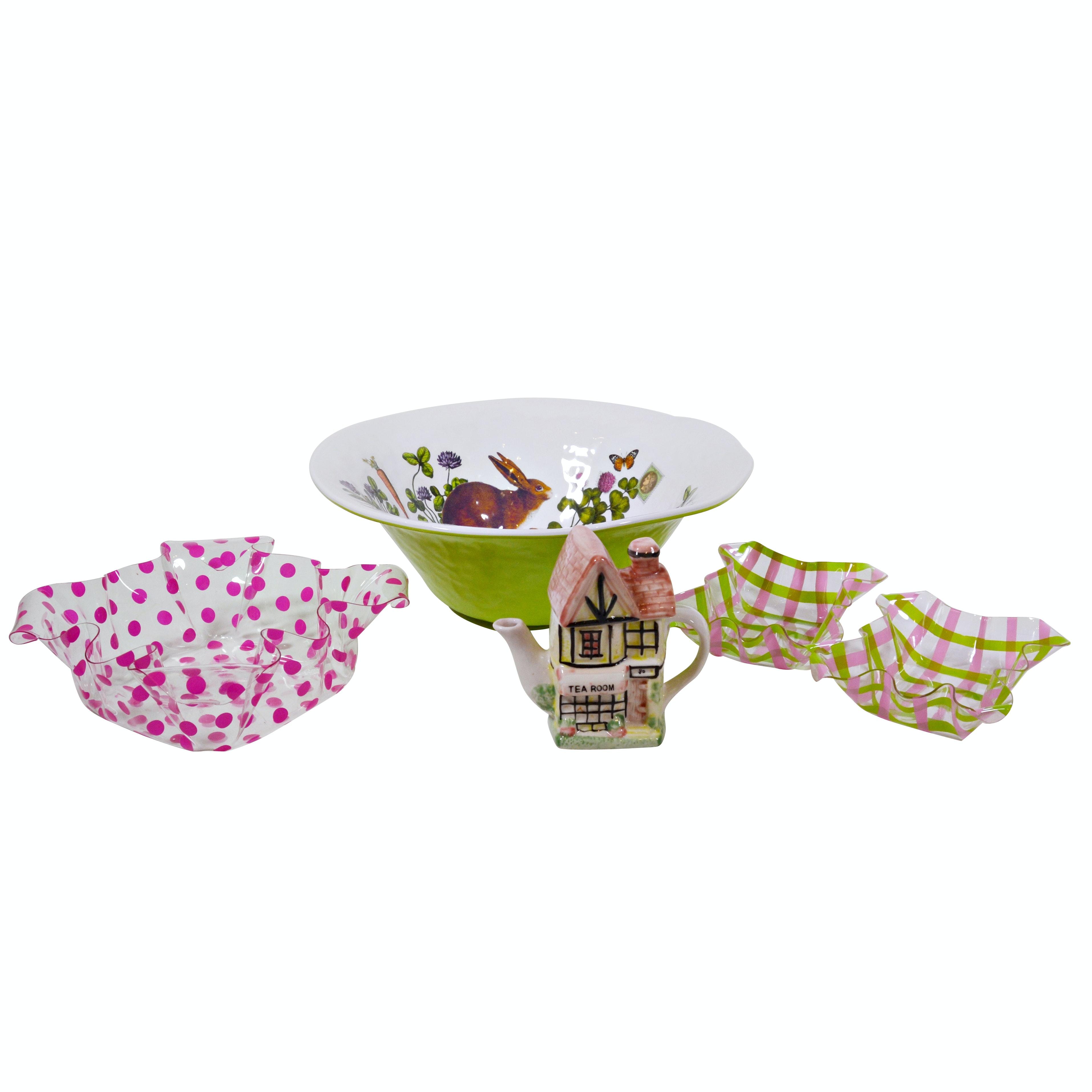 Melamine Bunny Bowl, Teapot and Plastic Ruffle Bowls