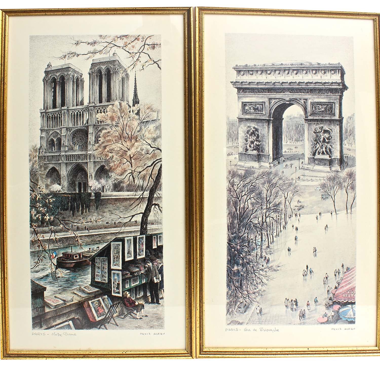 Two Ortiz Alfau Offset Lithographs of Paris