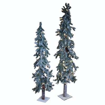 Faux Snow Covered Artificial Pine Trees