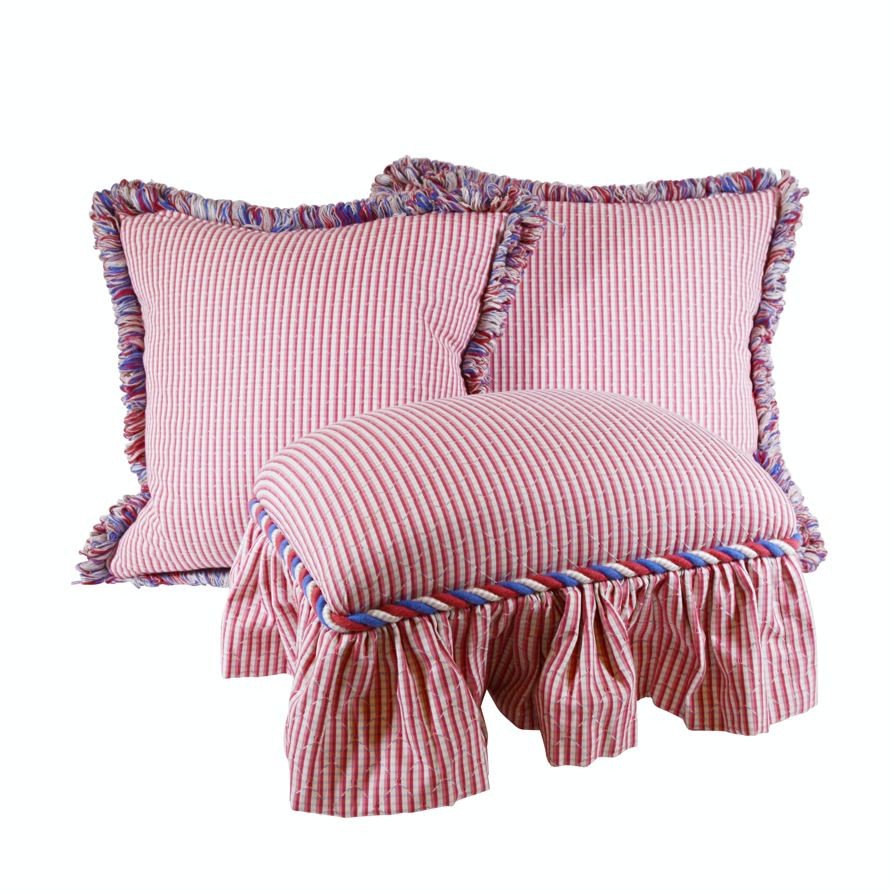 Red Striped Upholstered Footstool and Pillows