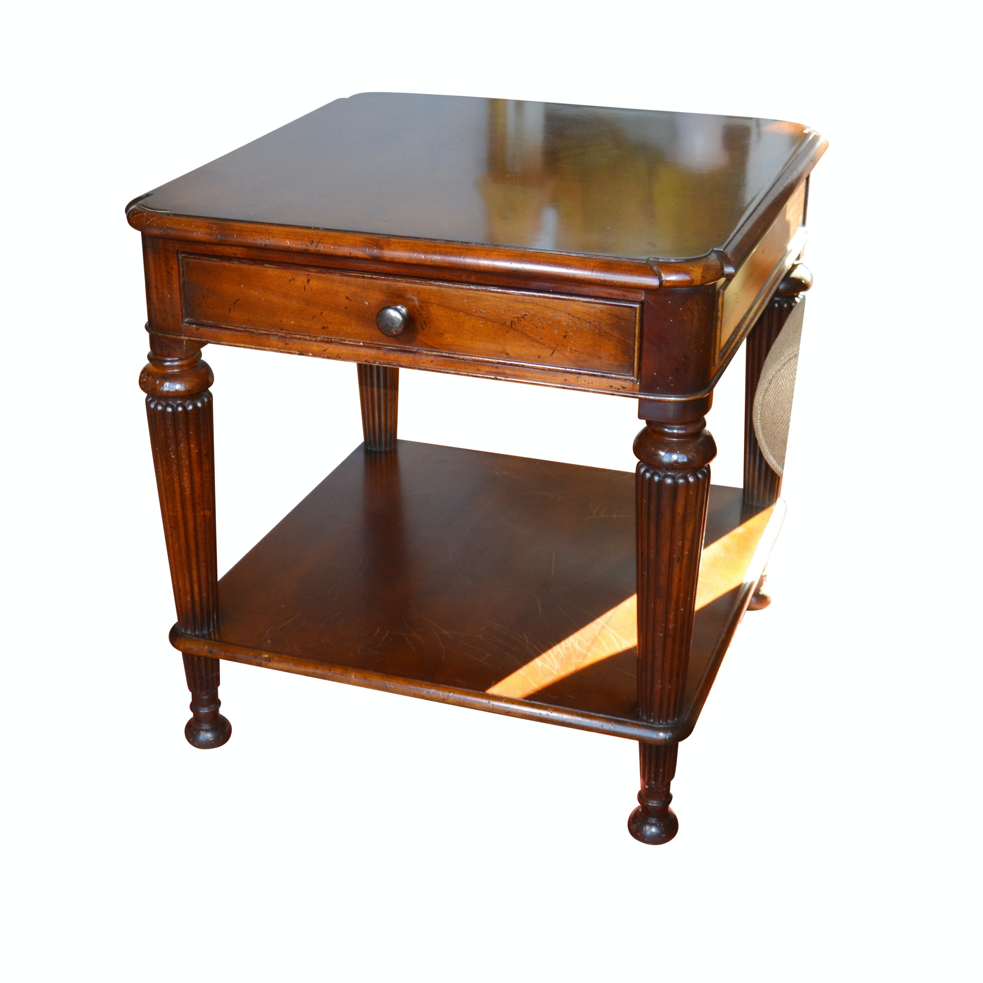 Contemporary Mahogany End Table by Milling Road, Baker Furniture