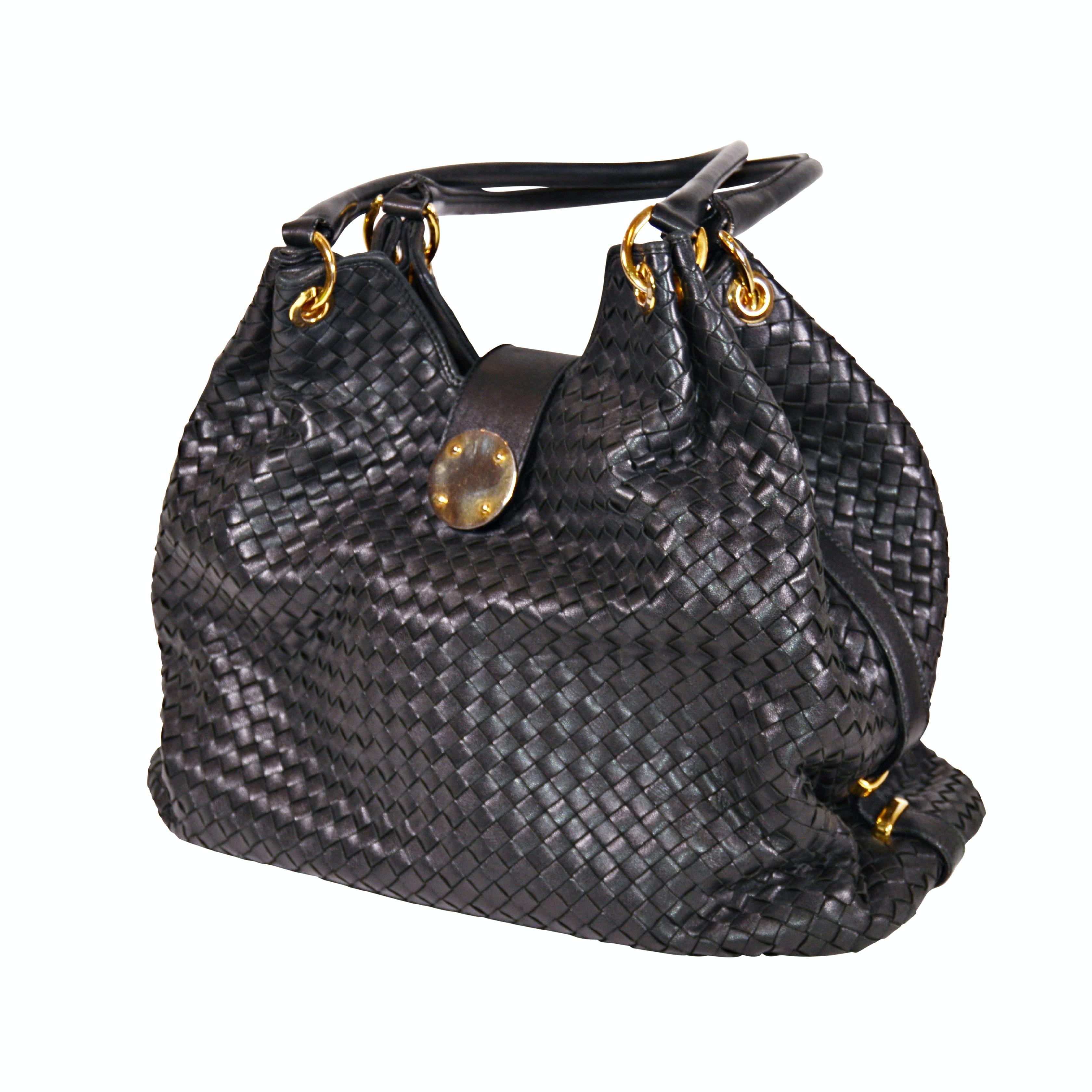 LALO Italian Black Woven Leather Satchel