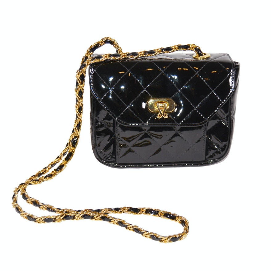 Jay Herbert New York Black Quilted Patent Leather Shoulder Bag   EBTH ba2962f75ef3e