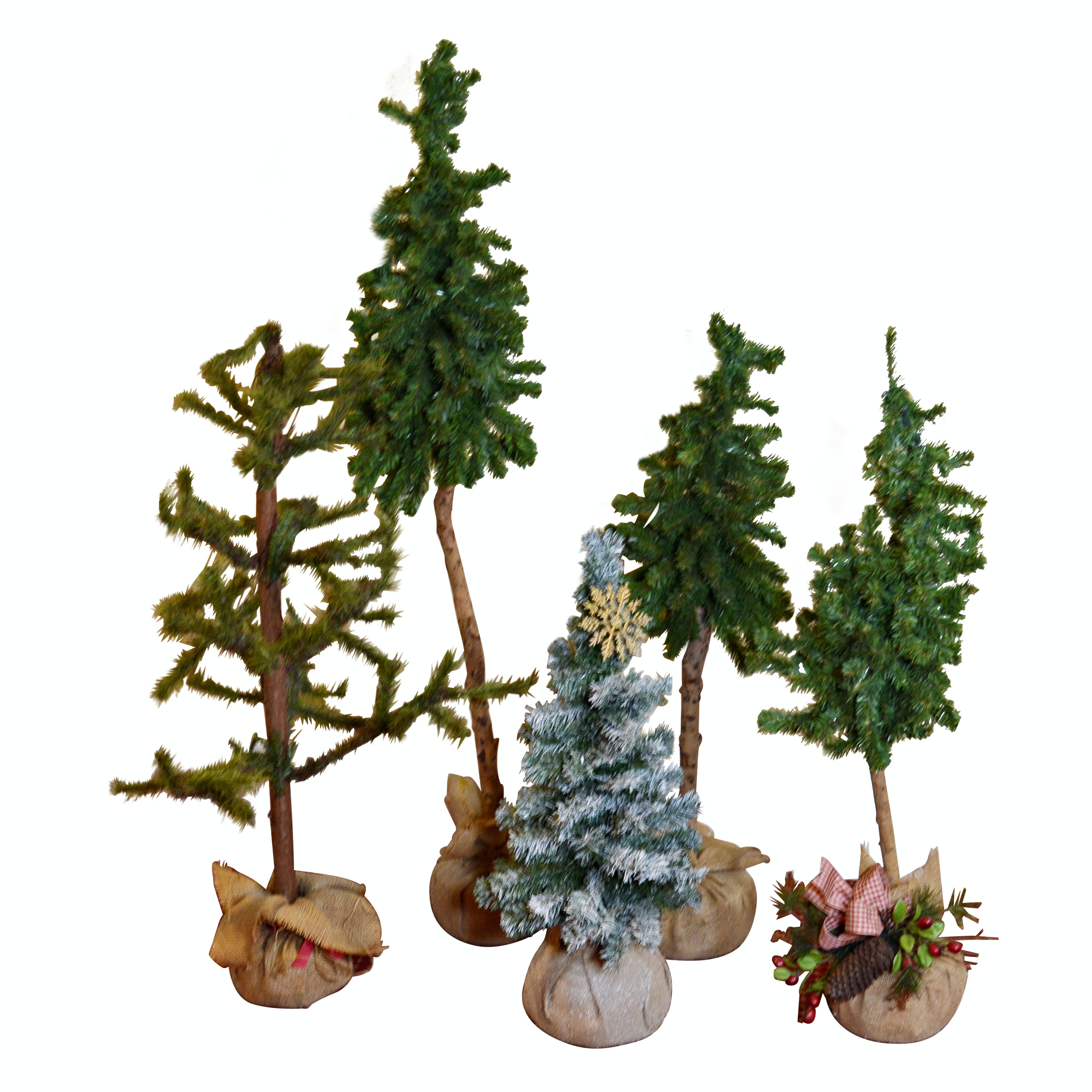 Five Table Size Faux Trees in Burlap Bags