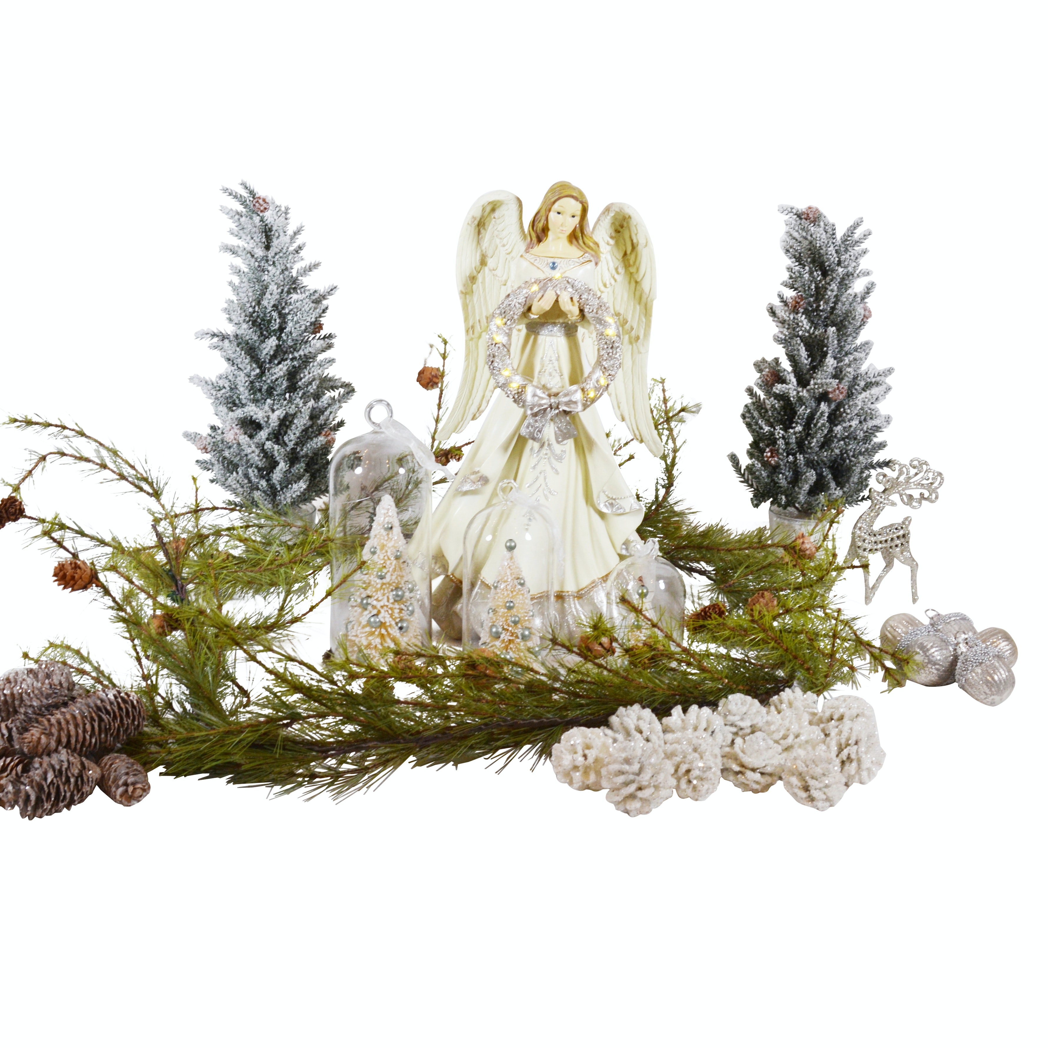 Christmas Decorations Featuring an Illuminated Angel Statue