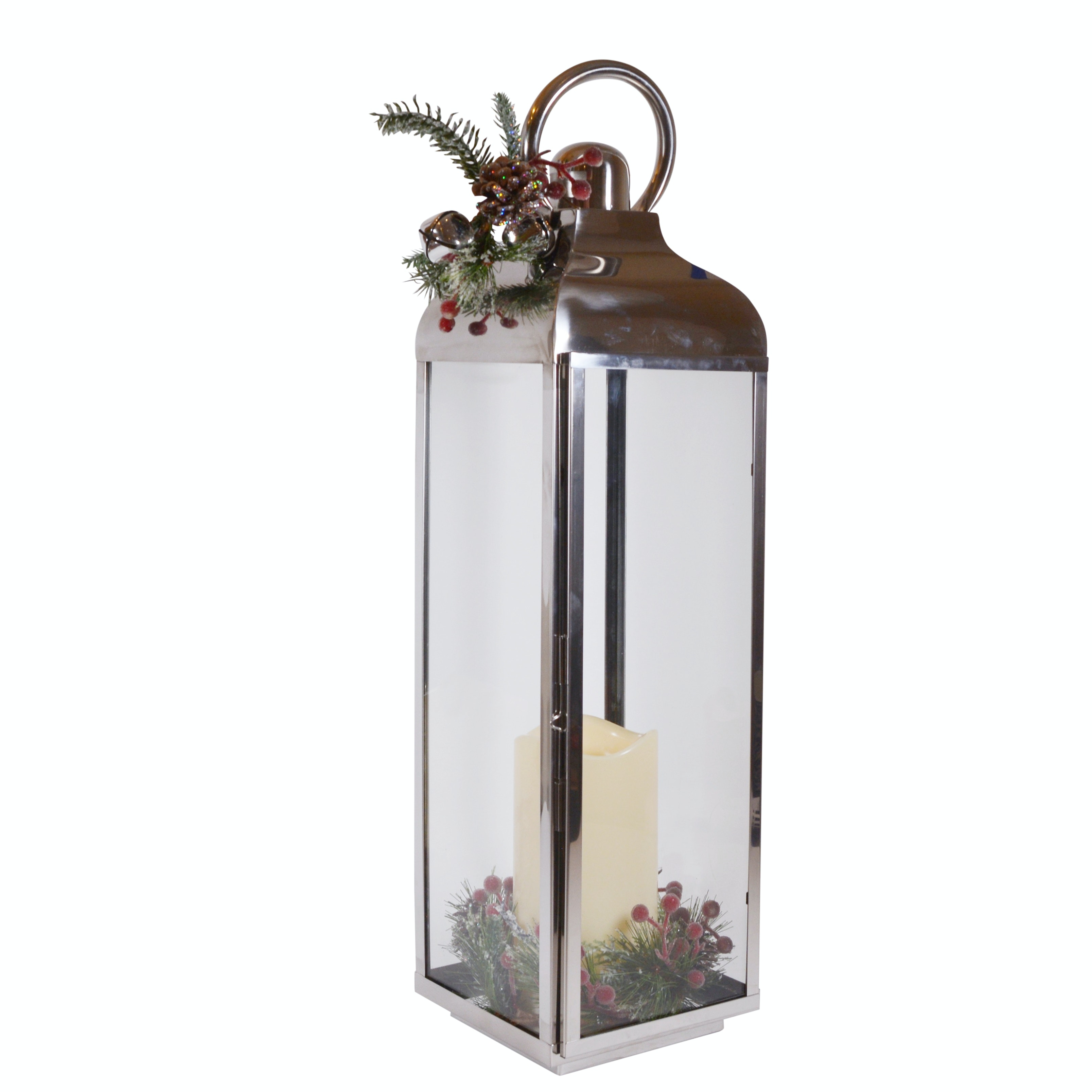 Holiday Stainless Flickering LED Candle Lantern