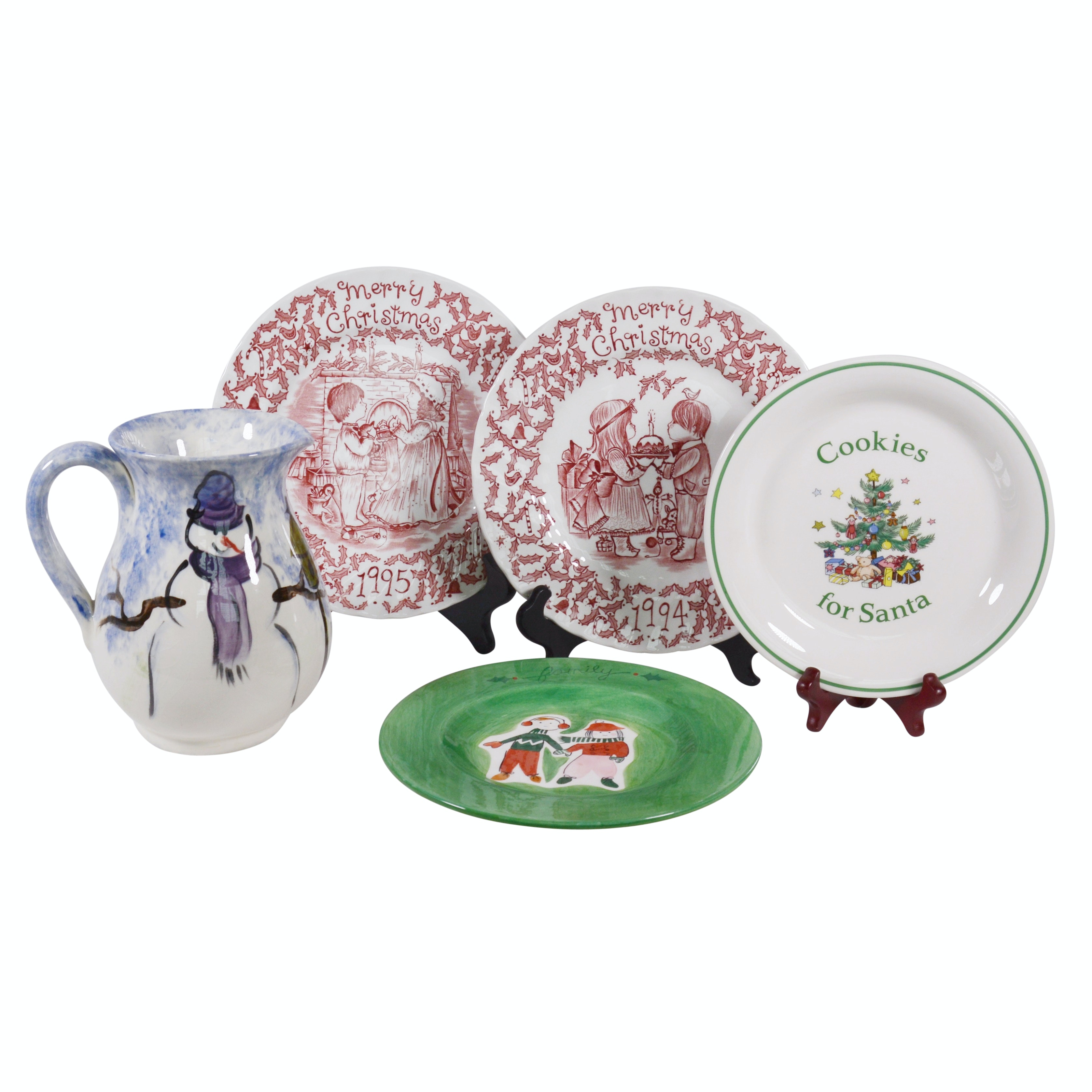 Christmas Ceramic Plates and Snowman Pitcher