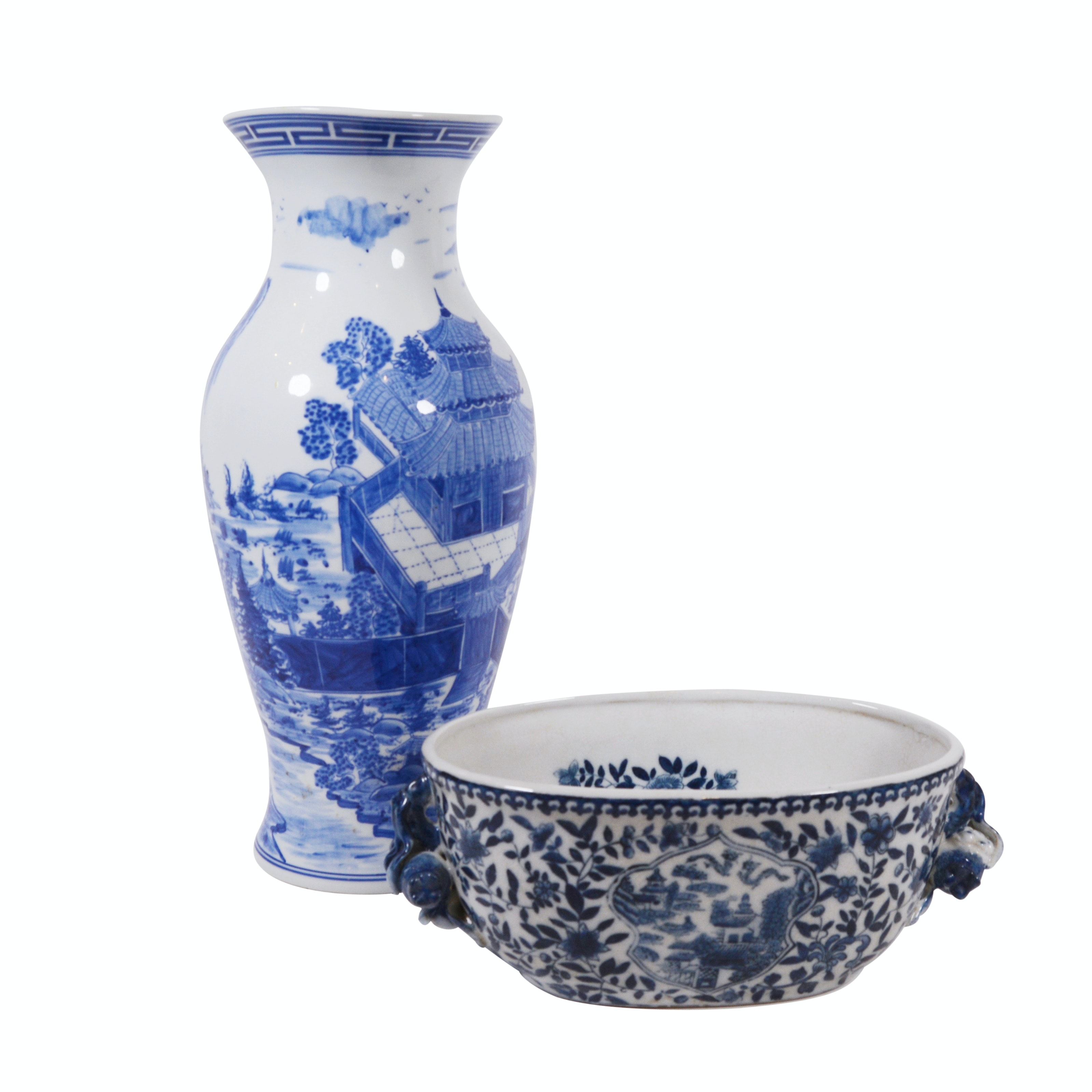 Chinese Inspired Blue and White Porcelain Vase and Jardinere