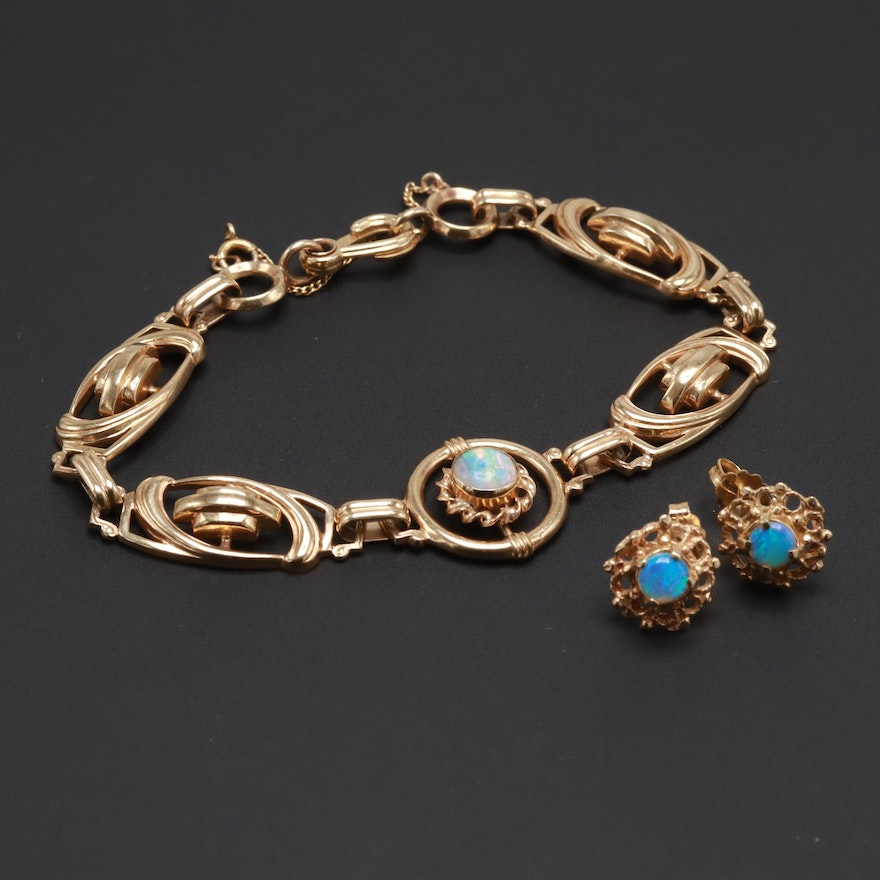 14k Yellow Gold Opal Earrings And Vintage Soret 10k Bracelet