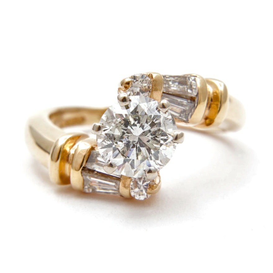 14K Yellow Gold 1.65 CTW Diamond Bypass Ring