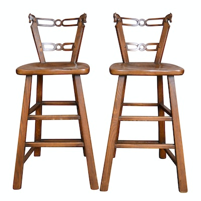 Pair of Vintage Romweber Viking Oak Barstools - Vintage Chairs, Antique Chairs And Retro Chairs Auction : EBTH