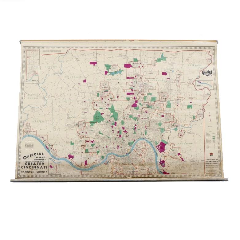 Vintage Classroom Map of Greater Cincinnati
