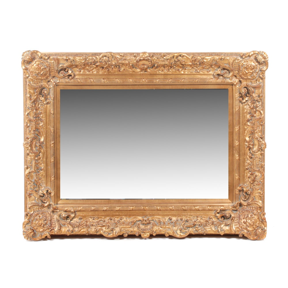Baroque Style Gilt Wood Frame Beveled Wall Mirror