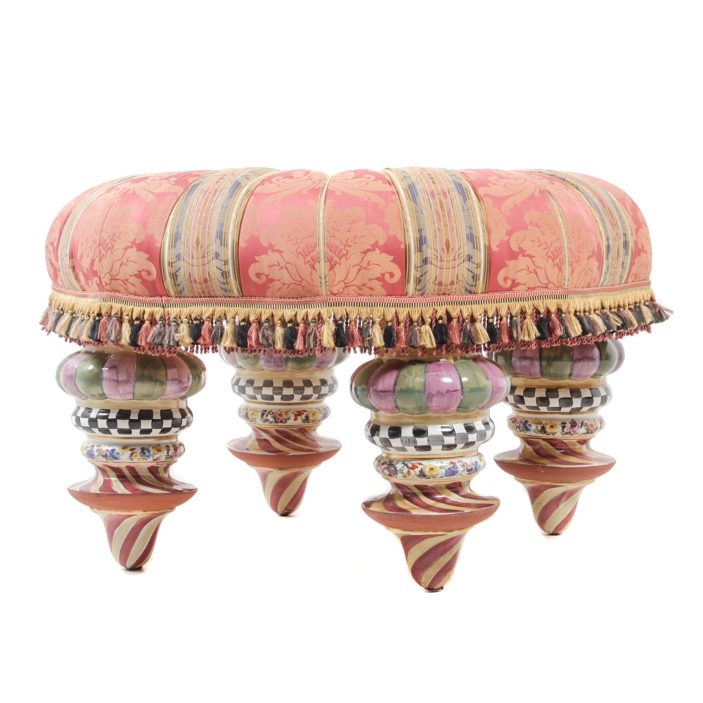 """Contemporary """"Florentine"""" Painted and Upholstered Footstool by MacKenzie-Childs"""