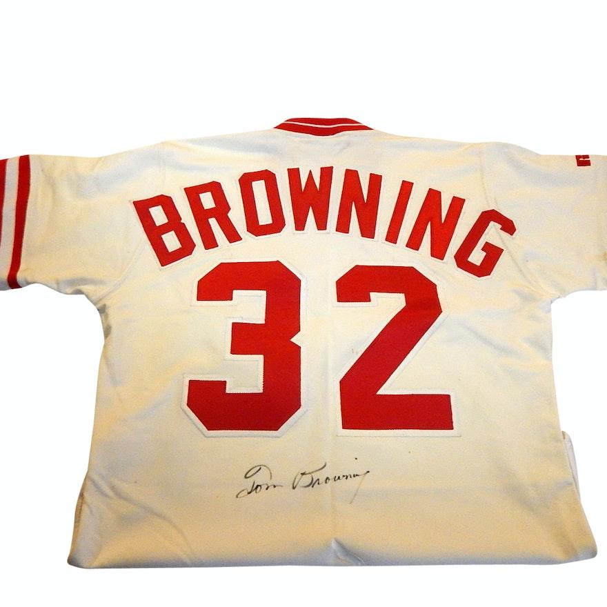 3f0350d97 Cincinnati Reds Tom Browning Signed  32 Baseball Jersey   EBTH