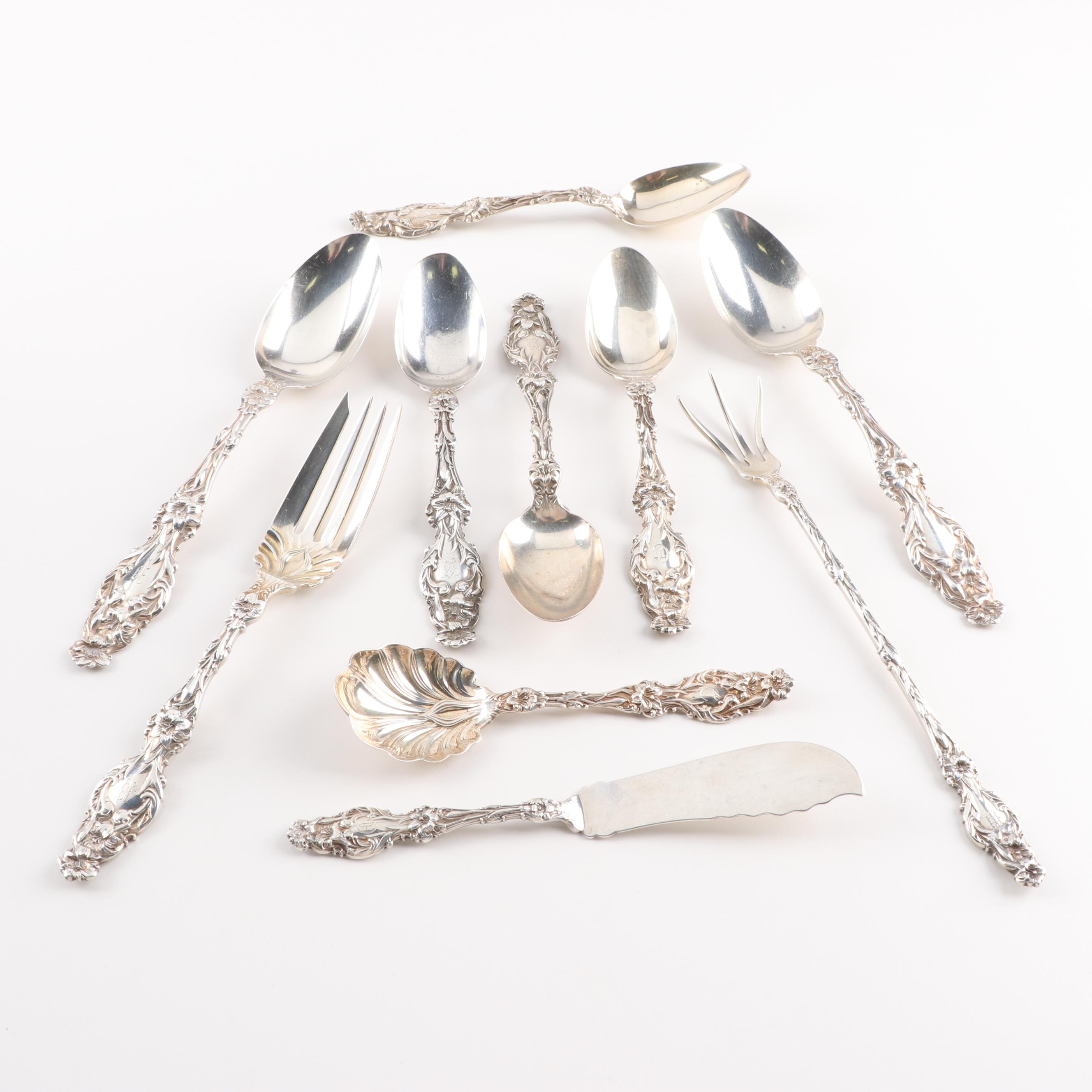 """Whiting Division """"Lily"""" Sterling Silver Flatware and Serving Utensils, American"""
