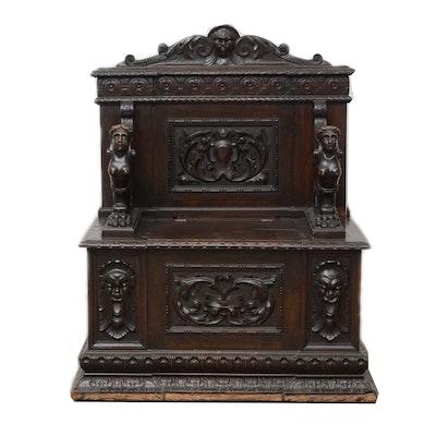 Victorian Renaissance Revival Walnut Hall Bench, Late 19th Century