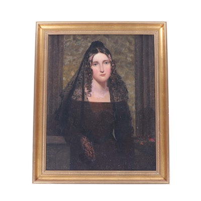 19th Century Portrait Oil Painting of a Widow