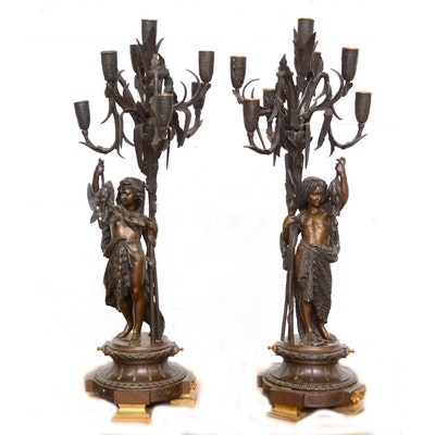 "Bronze Candelabra After Albert Ernest Carrier-Belleuse ""L'Enfant Pêcheur"""