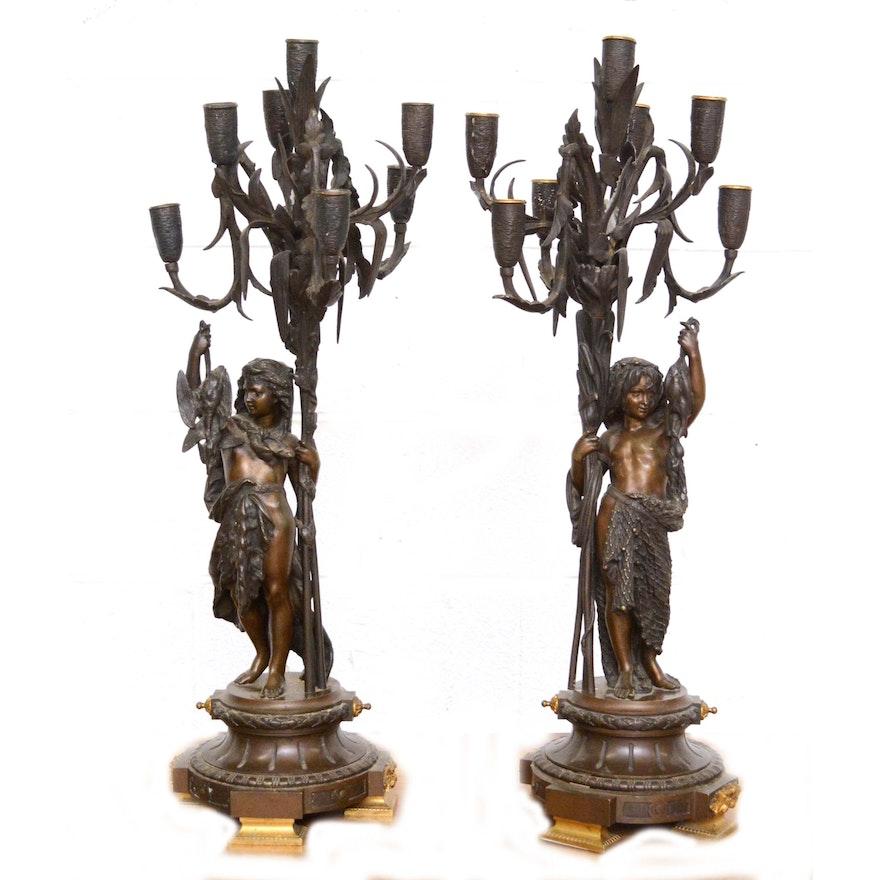 """Bronze Candelabra After Albert Ernest Carrier-Belleuse """"L'Enfant Pêcheur"""""""