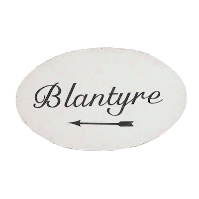 """Blantyre"" Painted Wood Sign, Late 20th Century"
