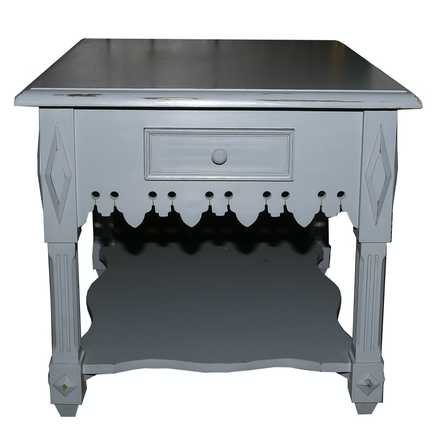 Indonesian Distressed Wood Side Table